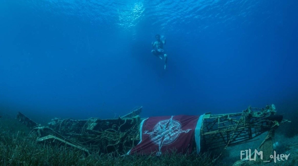 traditional flag under water