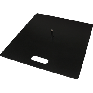 Flat metal base for portable flag systems