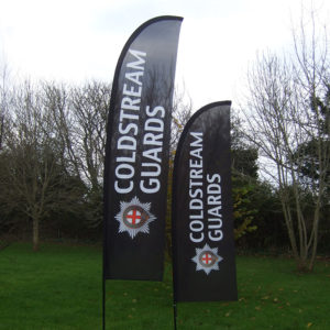 Coldstream guards feather flags
