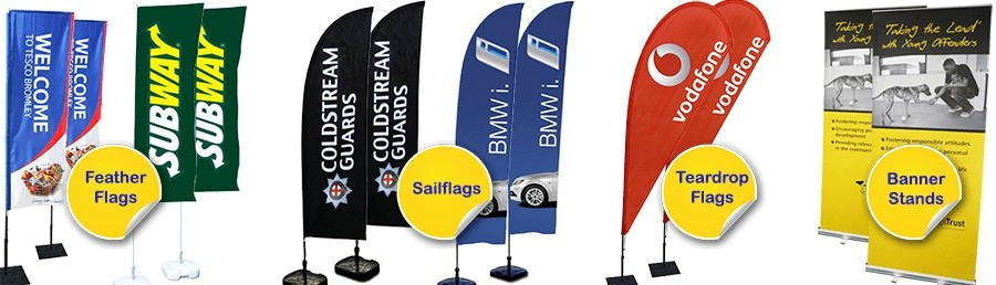 Feather flags with banner stand