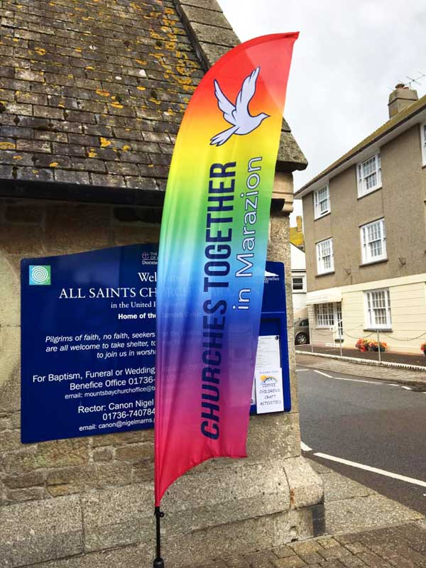 church feather flag