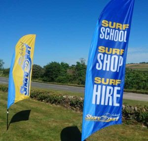 surf school feather flags