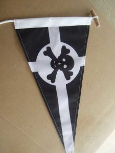 pennant flag or burgee with skull and cross bones