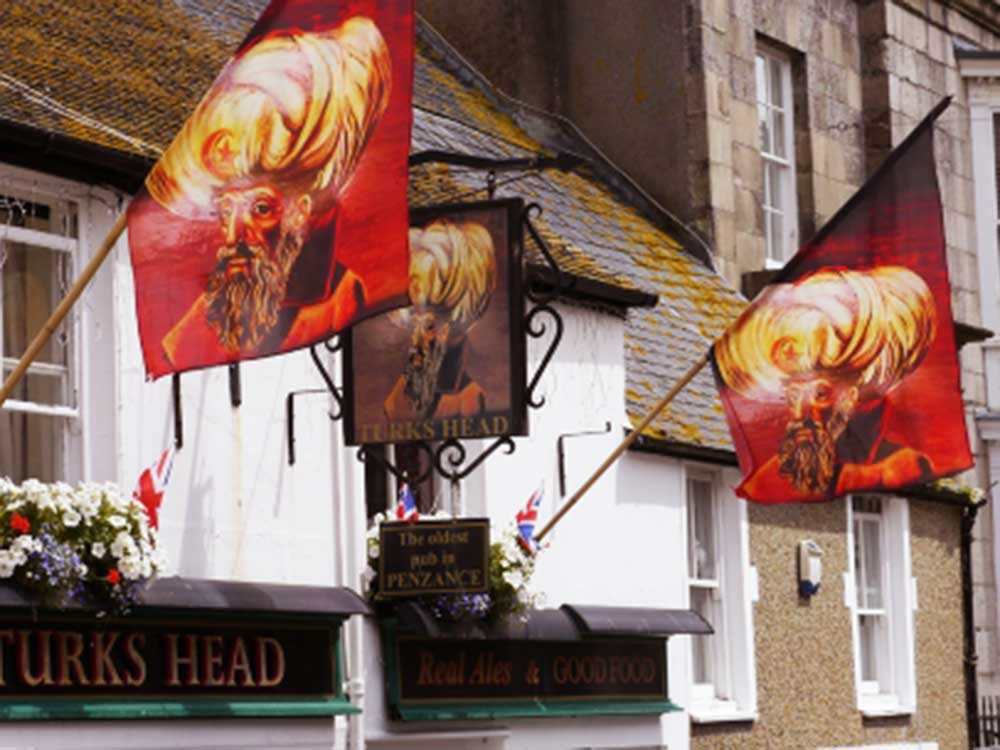 trapezoid flags with Turks Head Pub branding